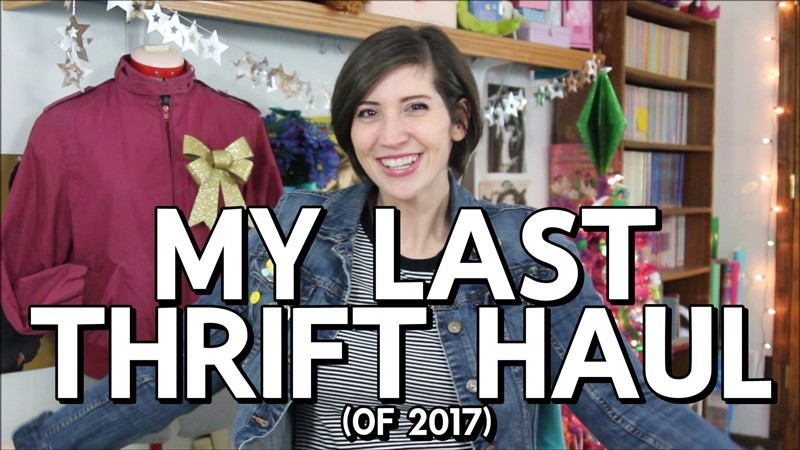 the outfit repeater hannah rupp decemeber 2017 monthly thrift haul video goodwill secondhand shopping clothes try ons