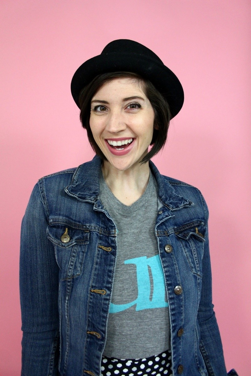 the outfit repeater hannah rupp winter capsule wardrobe challenge fun tee denim jacket rocker vintage thrifted 80s