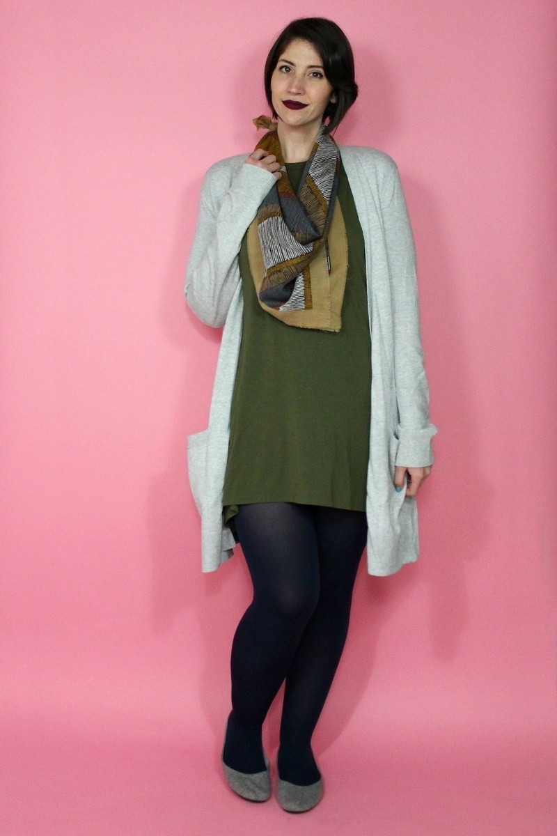 hannah rupp the outfit repeater capsule wardrobe challenge cool cardigan tobi long tall sally blue tights vintage scarf
