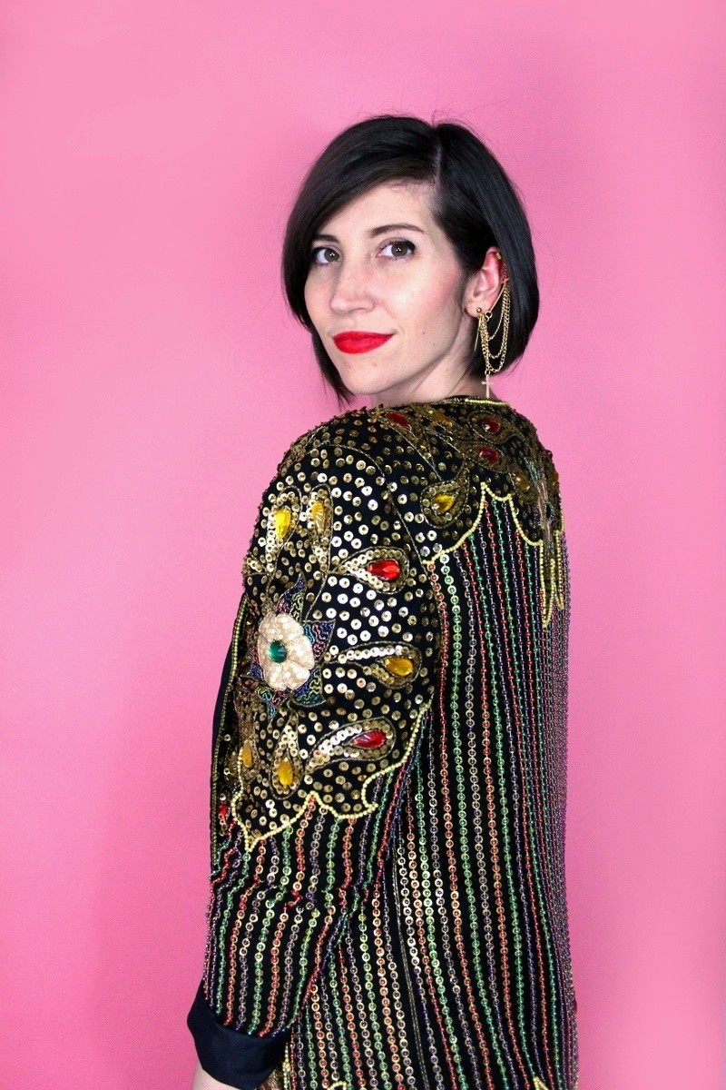 hannah rupp the outfit repeater vintage subscription box service monthly redbird 1980s concert disco sequins blazer