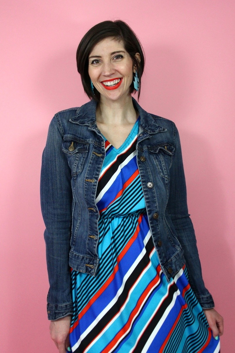 the outfit repeater hannah rupp family brother thrifting challenge striped dress we love colors tights spring fashion