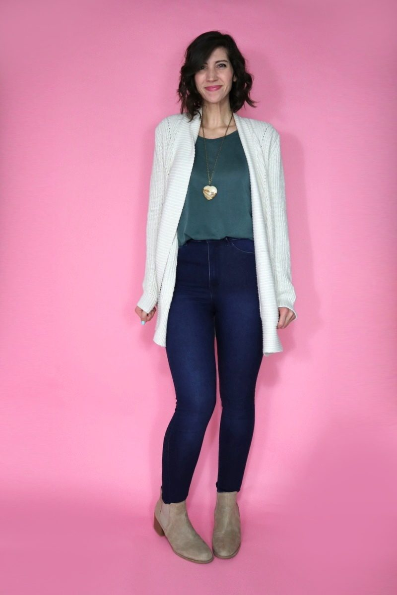 hannah rupp the outfit repeater maurices cardigan fall cute h&m jeggings thrift secondhand