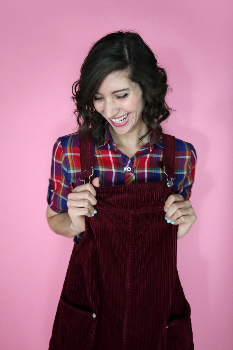fall fashion trends holiday plaid monochromatic overall dress the outfit repeater hannah rupp
