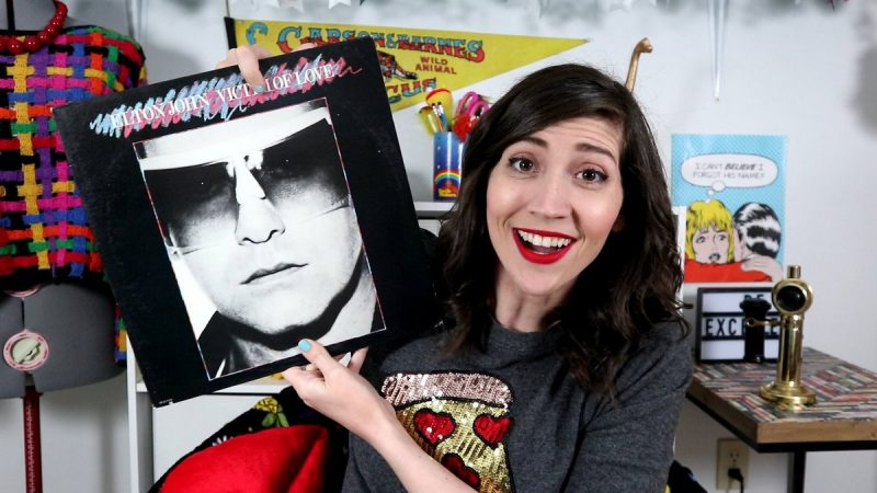 may monthly thrift haul video 2019 hannah rupp the outfit repeater elton john vinyl record 1970s icon
