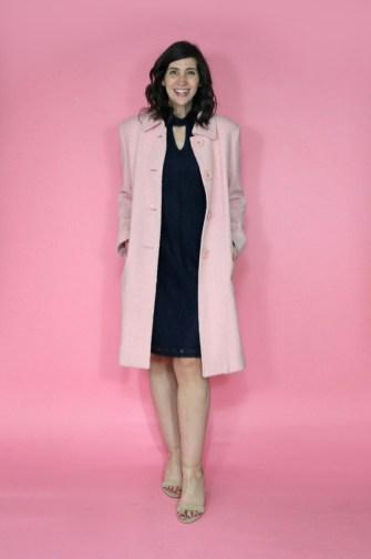 april thrift haul pink coat