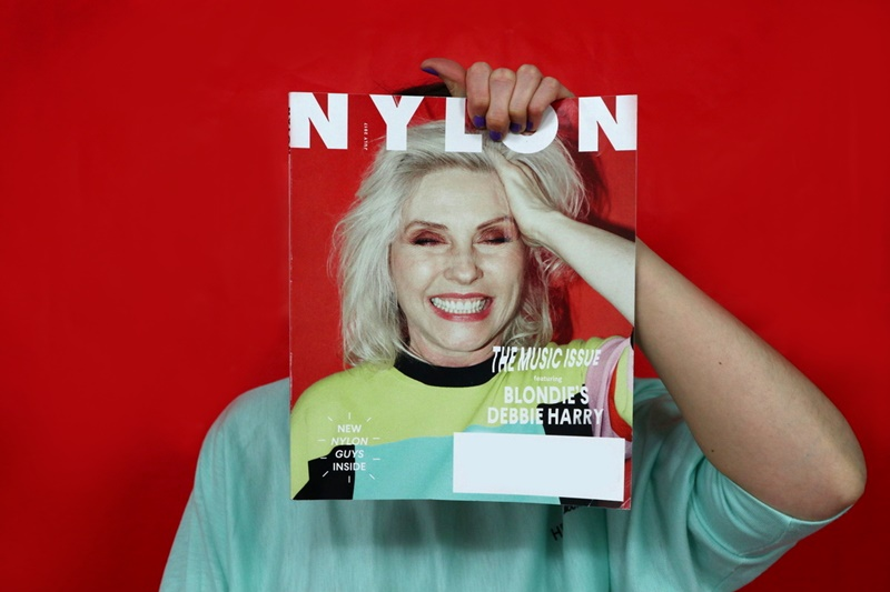 red background, nylon magazine cover with blondie's debbie harry, hannah rupp the outfit repeater