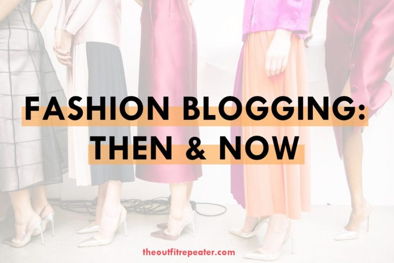 text: fashion blogging then and now on image of colorfully dressed models lined up