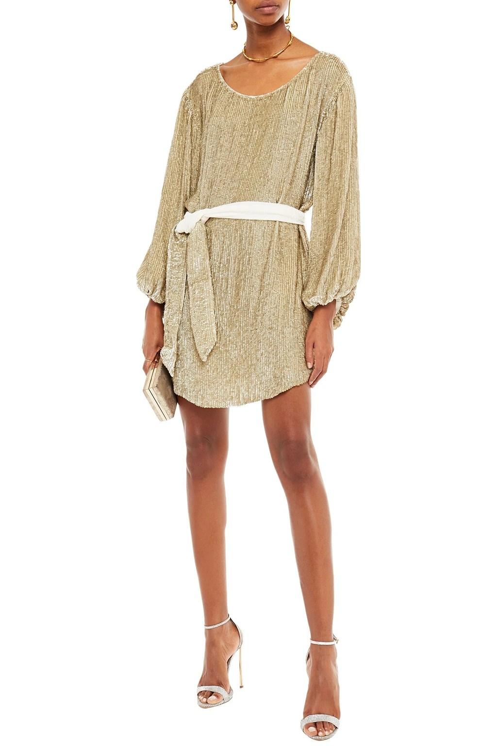 RETROFÊTE Velvet-trimmed sequined chiffon mini dress
