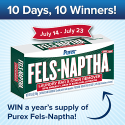 Win a Year's Supply of Fels-Naptha from Purex 07/14-07/23