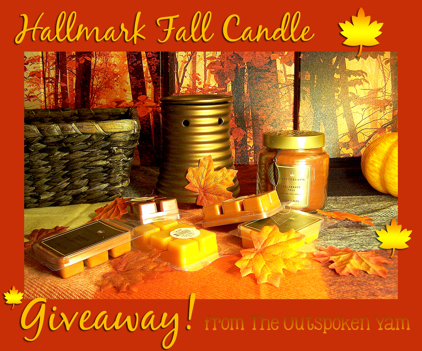 Hallmark Crafters & Co Fall Candle Giveaway giveaways sweepstakes autumn leaves candles wax melts warmer orange yellow basket gift presnt best candles enter to win winning contest gold scented pumpkin spice woven foliage collectible home decor decorating decorations