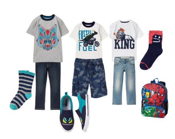 boys gymboree clothes outfits dinosaur shirts wolf wolves spiderman comics socks stripes blue monsters camo jeans shorts shoes
