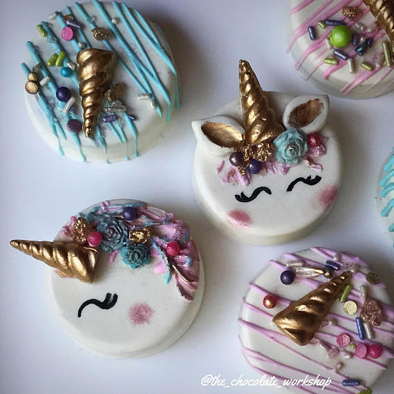 unicorn oreo chocolate covered decorated oreos party birthday holiday gift guide