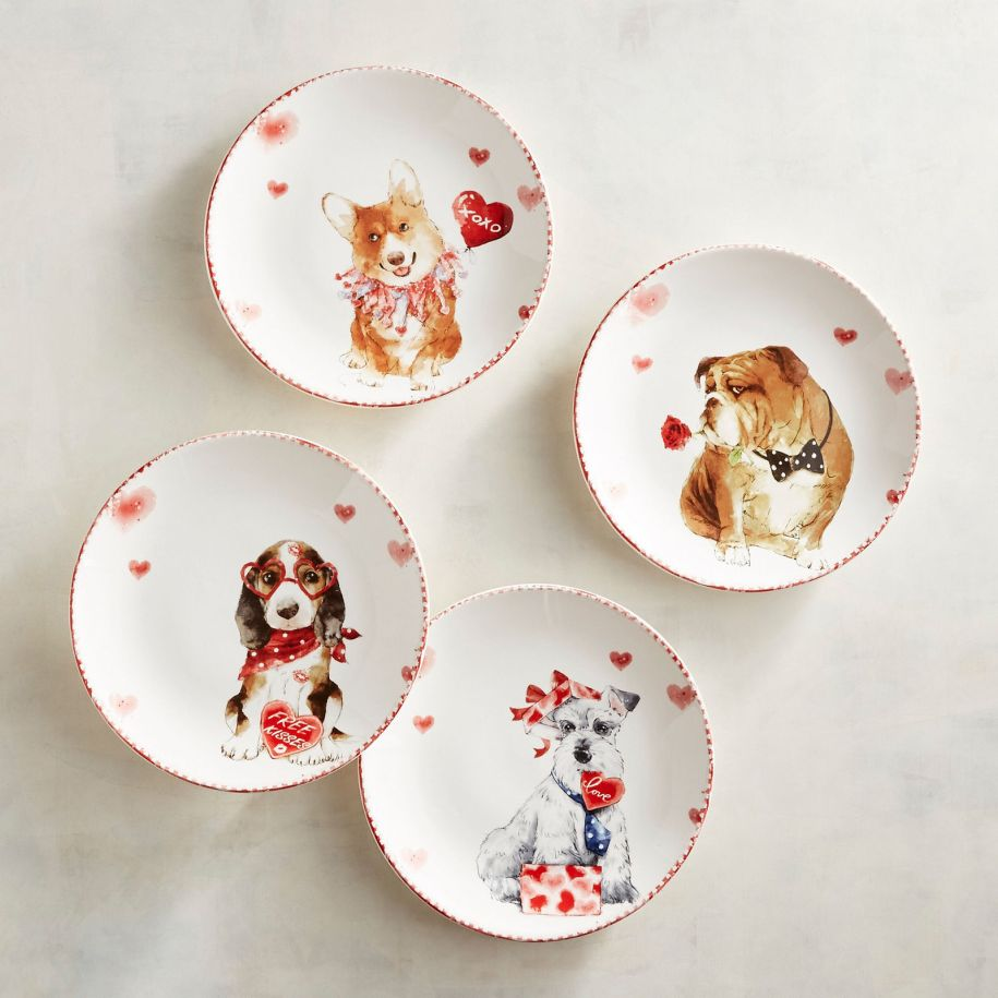 plates dishes dih kitchen valentines love dog dogs bulldog cute blog list housewares gift guide