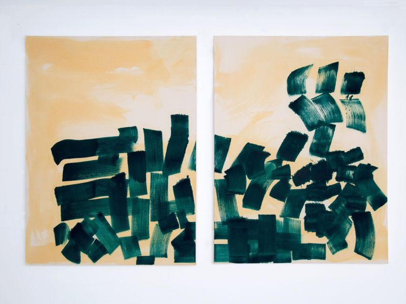 'Up in the Air' 2020 120x100cm each Pigment and Medium on Canvas