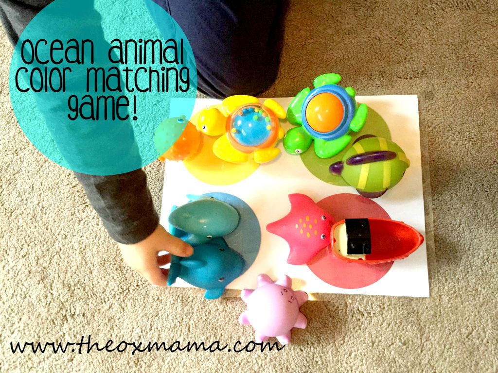 Ocean Animal Color Matching Game-Tot School: Oceans Theme! Such a cute homeschool theme for toddlers or preschoolers with so many ideas!