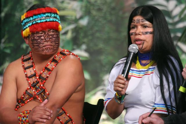 Indigenous leaders Jaime Vargas, president of the Achuar Nation of Ecuador, and Patricia Gualinga, advocate and adviser of the Sarayaku people, spoke out about the 11th Oil Round and the need to protect the Ecuadorian rainforest, which is home to some of the highest levels of biodiversity in the world. (Photo courtesy of the Pachamama Alliance.)