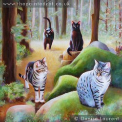 The Woodland Cats 20x20 inch oil on panel