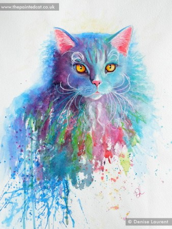 Hennes a selkirk rex cat in watercolour