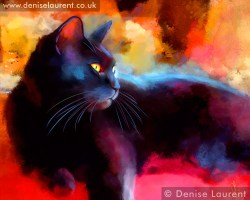 A black cat contemporary style painting