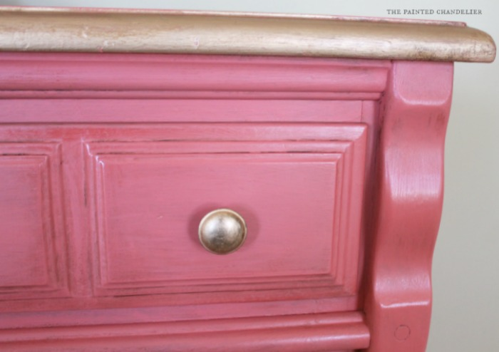 Coral & Gold Dresser Turned TV Console