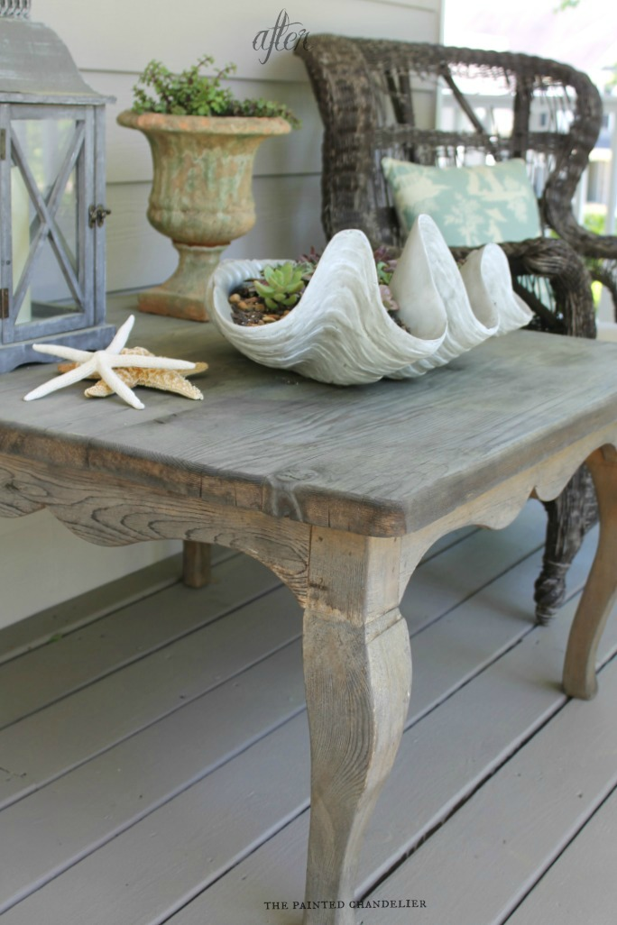 Driftwood Weathered Wood Porch Table Makeover