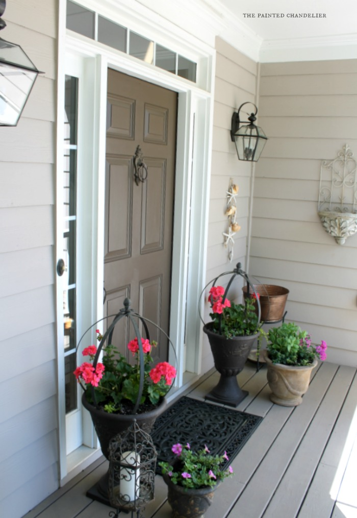 Summer porch makeover the painted chandelier - Care geraniums flourishing balcony porch ...