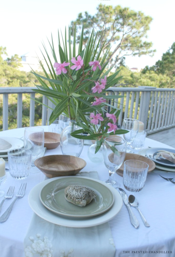Nature Inspired Beach Table Setting - The Painted Chandelier