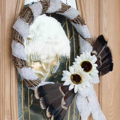 Turkey Feather Thanksgiving Wreath Tutorial