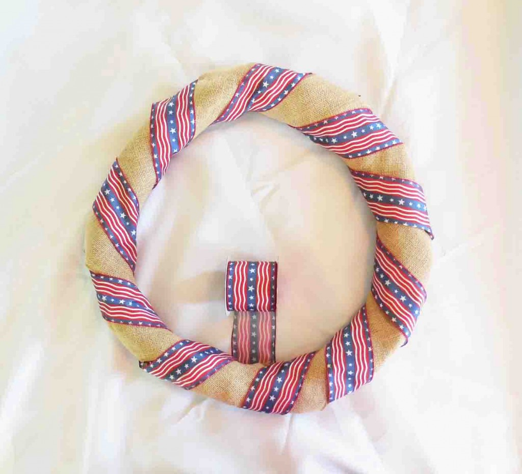 Stars Stripes & Burlap 4th Of July Wreath