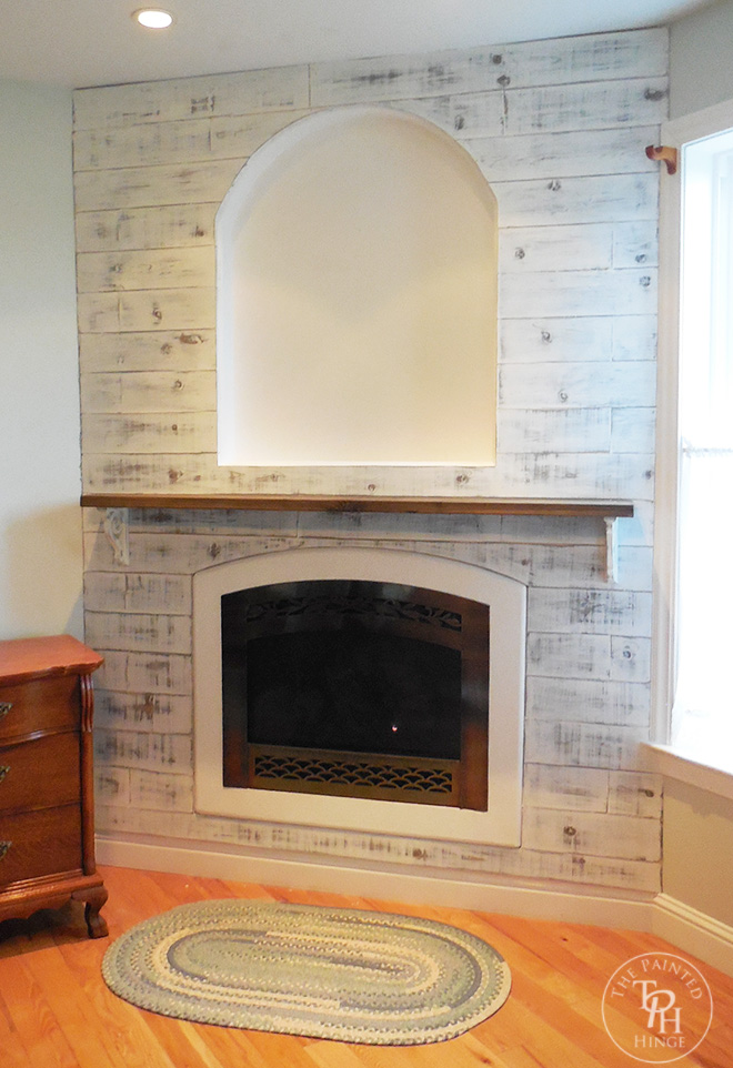 Master Bedroom Fireplace Makeover. For The Actual Mantle, I Bought A 2u2033 X  8u2033 Piece Of Wood An Aged It Using The Steel Wool And Apple Cider Vinegar  Method.