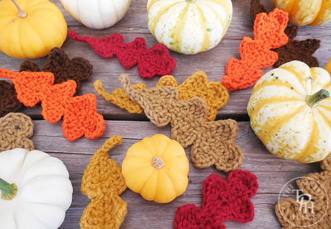 Fall Oak Leaves Crochet Pattern, shared by The Painted Hinge  at The Chicken Chick's Clever Chicks Blog Hop!
