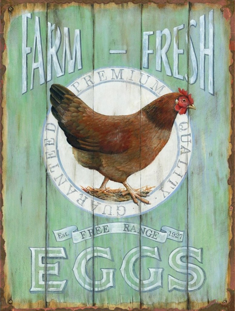 Farm Fresh Free Range Eggs Retro Vintage Style Tin Bar Sign Giveaway!