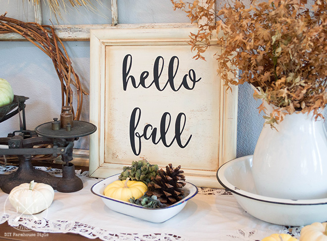 DIY Hello Fall Sign Made From A Repurposed Cabinet Door