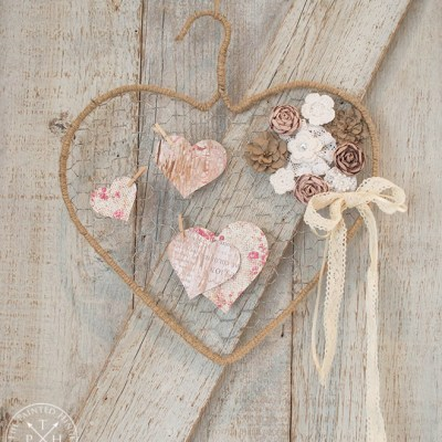 Chicken Wire and Wire Hanger Heart Tutorial