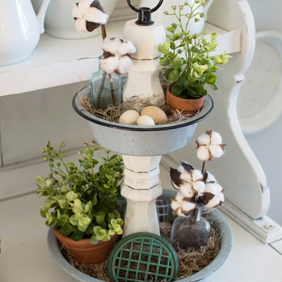 DIY Tiered Tray From Repurposed Enamelware Bowls