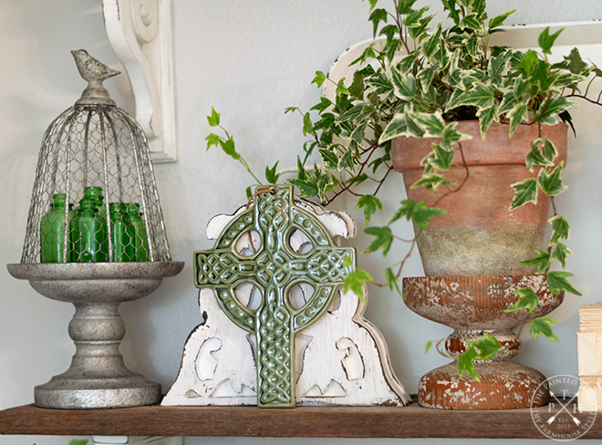 Vintage Farmhouse Shelf Styling Ideas for St. Patrick's Day