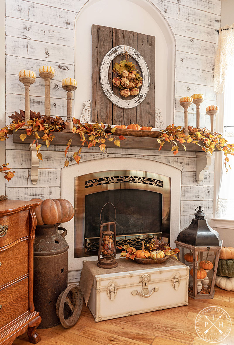 Combining Natural and Faux Elements on a Fall Mantel 02