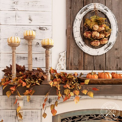 Mixing Natural and Faux Elements on a Fall Mantel