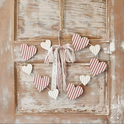 Valentine's Day Wire Hanger Wreath with Ticking Stripe Cutout Hearts