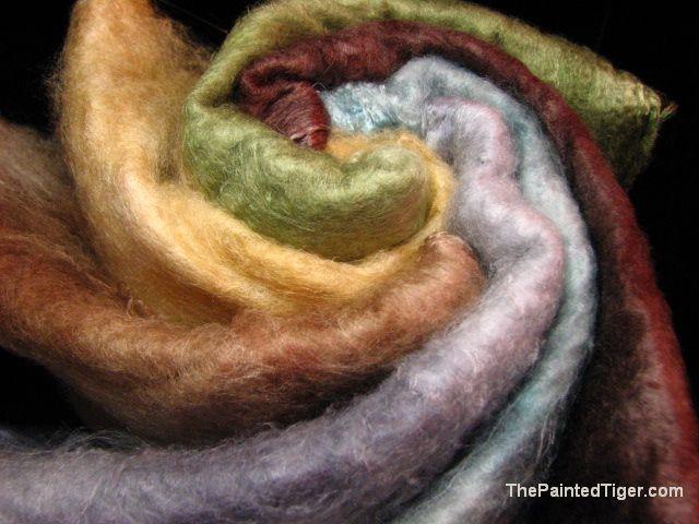 Hand Dyed Mawata Silk Hankies Grey, Blue, Green, Gold, Tan, Brown