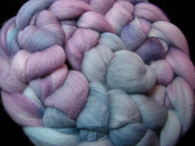 Dove Hand Dyed Falkland Wool Combed Top Grey Gray Blue Pink