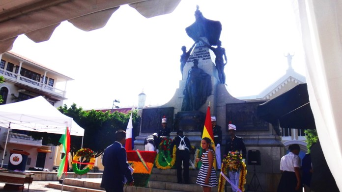 Panma., like Bolivia, is one of the Bolivarian Republics -- the countries that became independent from Spain as part of the movement led by Simón Bolívar -- so the expected place to celebrate the anniversary of Bolivia's August 6, 1825 declaration of independence is Plaza Bolivar in the Casco Viejo, with wreaths to be laid at the monument to the Great Liberator.