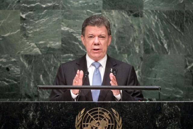 President Juan Manuel Santos Calderón of Colombia talks about his country's peace process. UN photo.