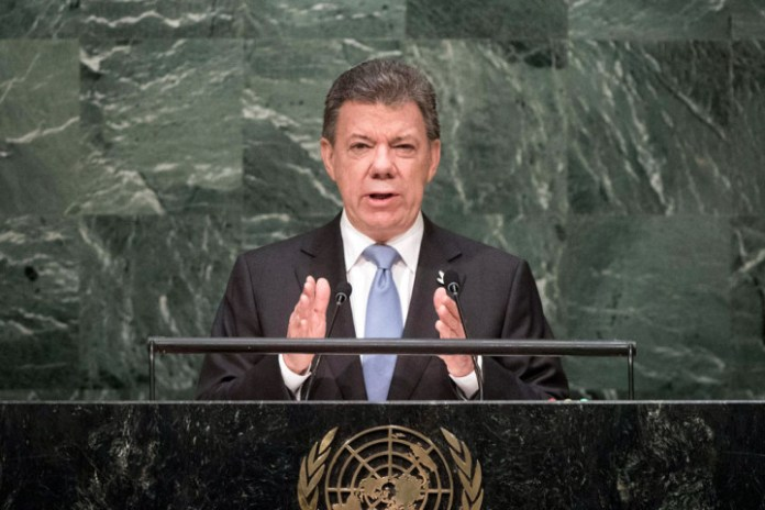President Juan Manuel Santos Calderón of Colombia talks about his country's peace process. UN photo.