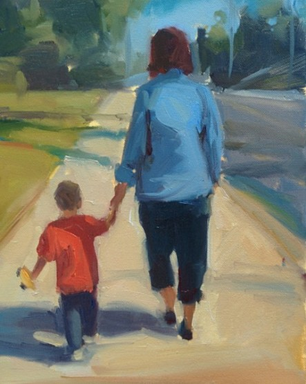 """""""Henry and Debbie"""" -- the wife and grandson walking."""