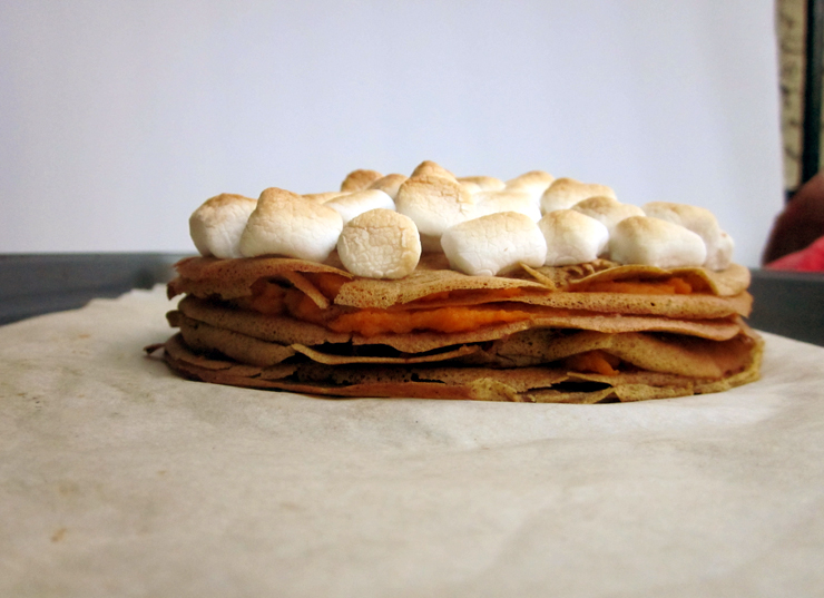 Sweet Potato Casserole Crepe Cake