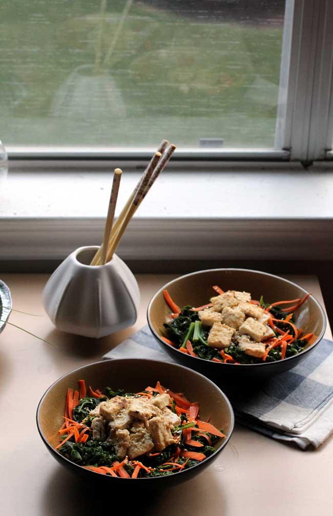 Pan-fried Tofu Kale Bowl