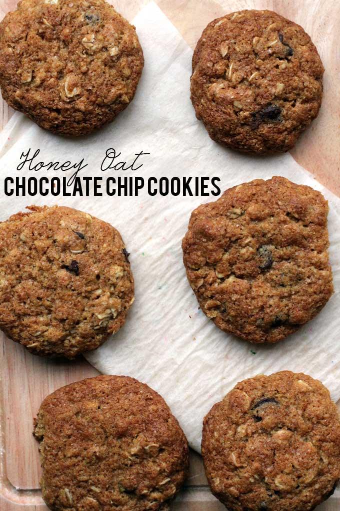 Honey Oat Chocolate Chip Cookies // The Pancake Princess
