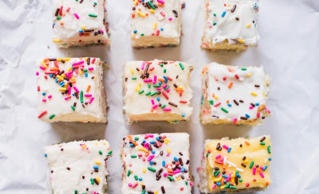 Nine slices of sprinkle cake