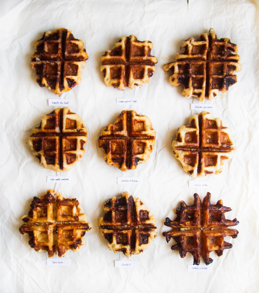 9 liege waffles on a white background